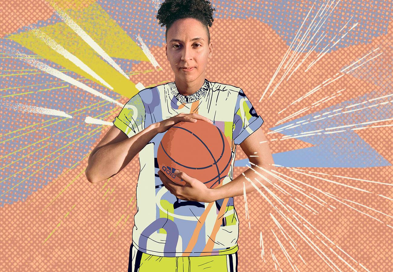 Layshia holding a basketball.