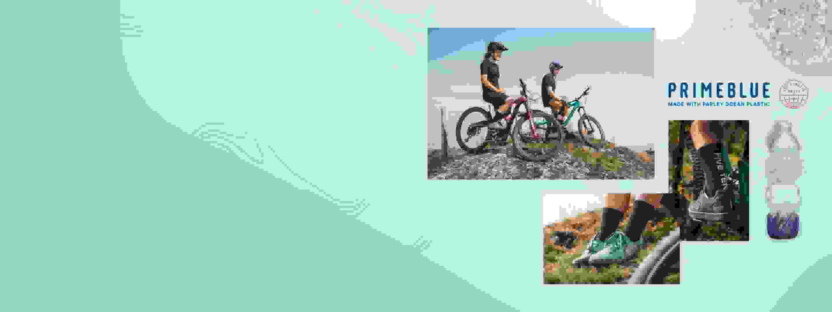 Men_and_Women_Mountain_Biking_wearing_adidas_Primeblue_recycled_plastic_outfit