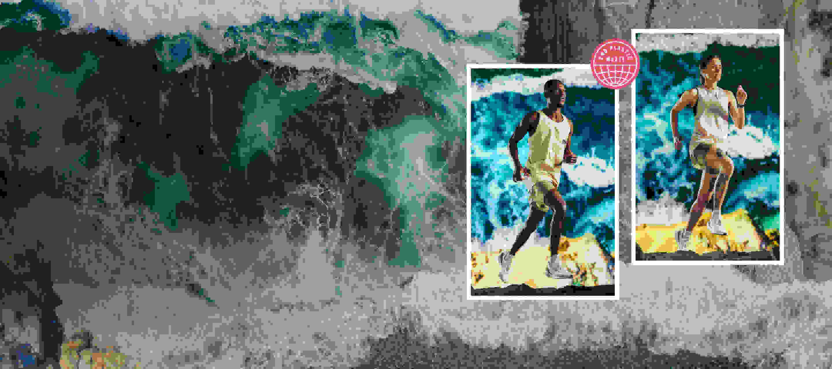 An ocean scene with 2 athletes wearing the new adidas x Parle running collection in the foreground