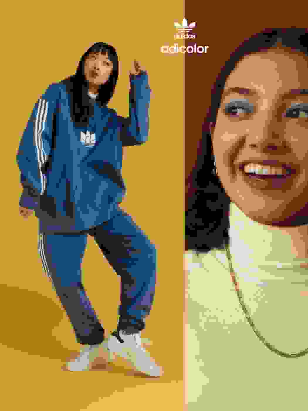 Woman in blue tracksuit with friend.