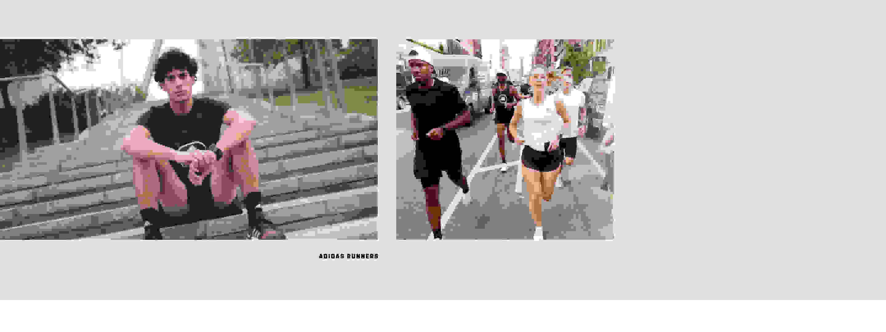 Dual-image composition. 1. Paolo Bellomo sits casually on a set of steps outdoor. 2. Jessie Zapo leads a running crew on a city run.