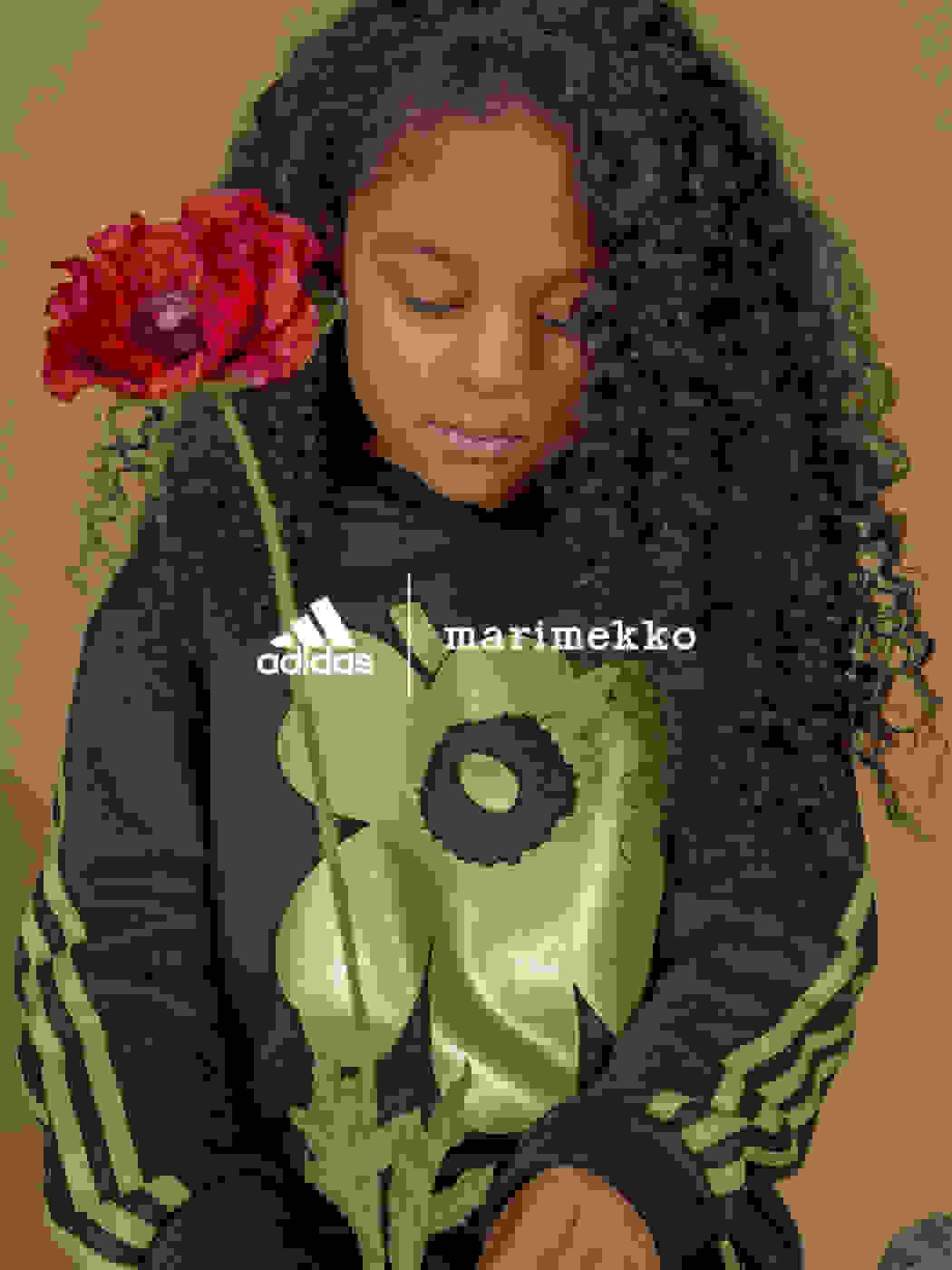 Child wearing adidas x Marimekko clothing
