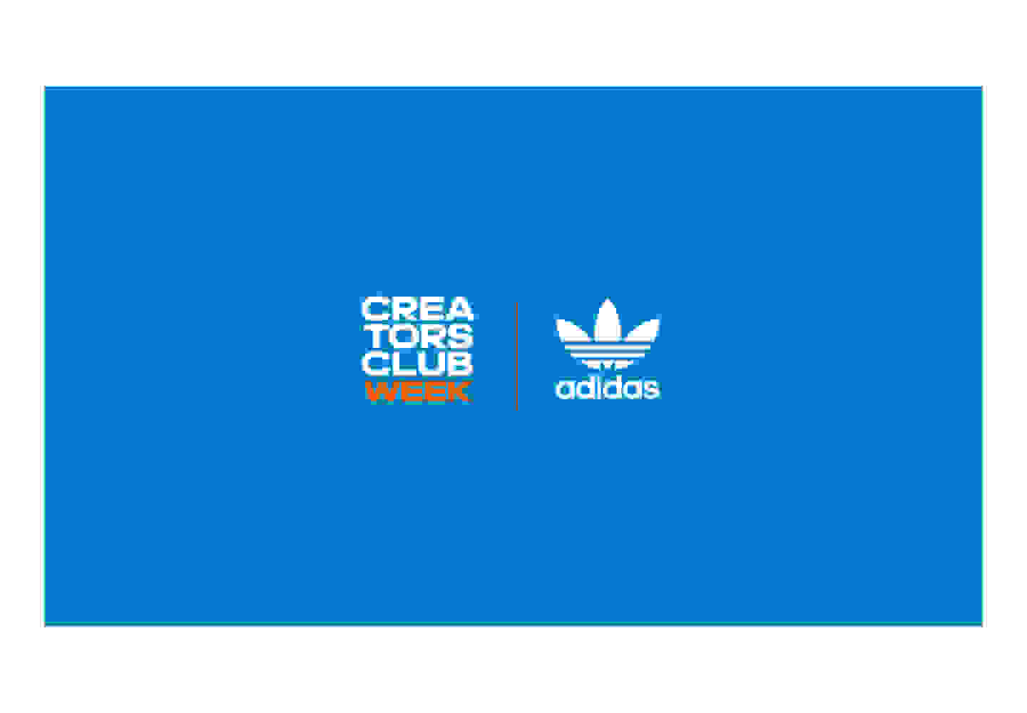 Blue adidas Originals and Creators Club Week logos.