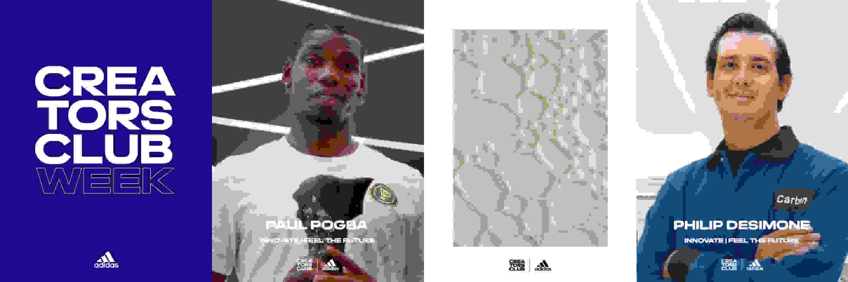 Adidas and Creators Club Week Logos. Paul Pogba showing off the Predator Mutator and next to him a picture of the unique 4D carbon outsole