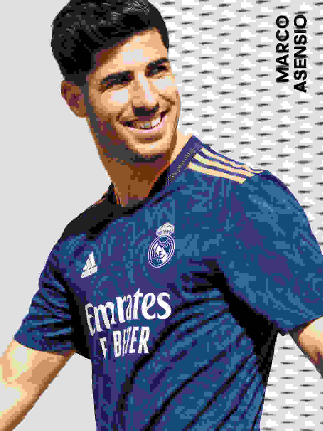 A male player wearing the Real Madrid Away Jersey