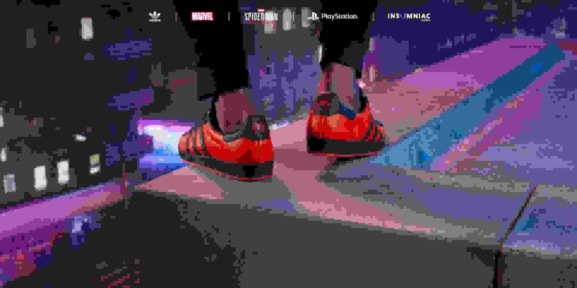 Models on top of the city wearing the Marvel's Spider-Man: Miles Morales Superstar shoes