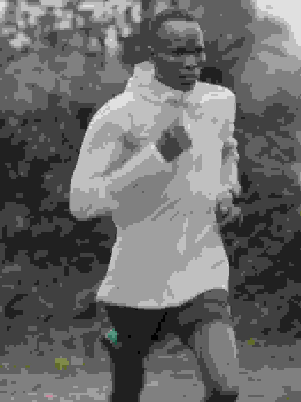 Athlete running upper body shot - male
