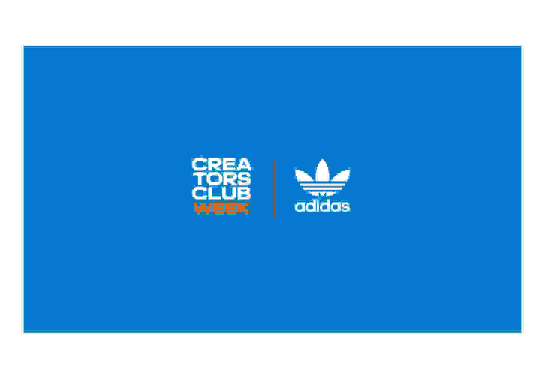 Blue adidas Originals and Creators Club Week logos.