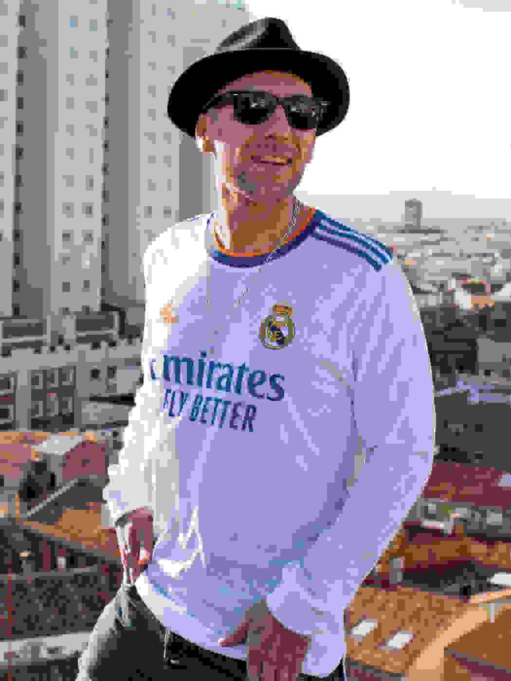 Male creator wearing the new Real Madrid Jersey