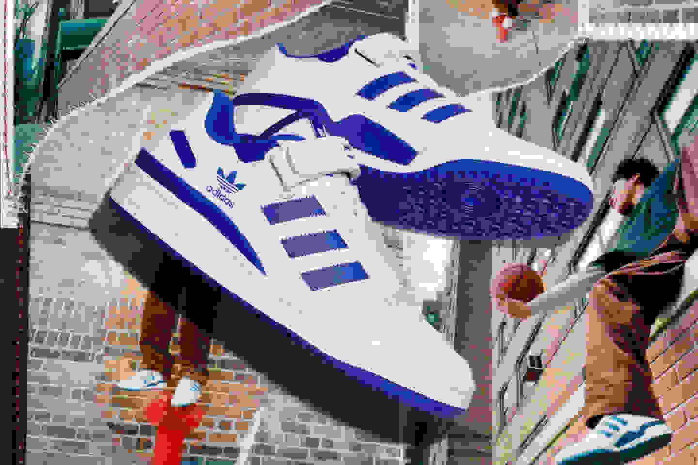 The Forum Low in white and blue shown over collage of male model wearing the product.