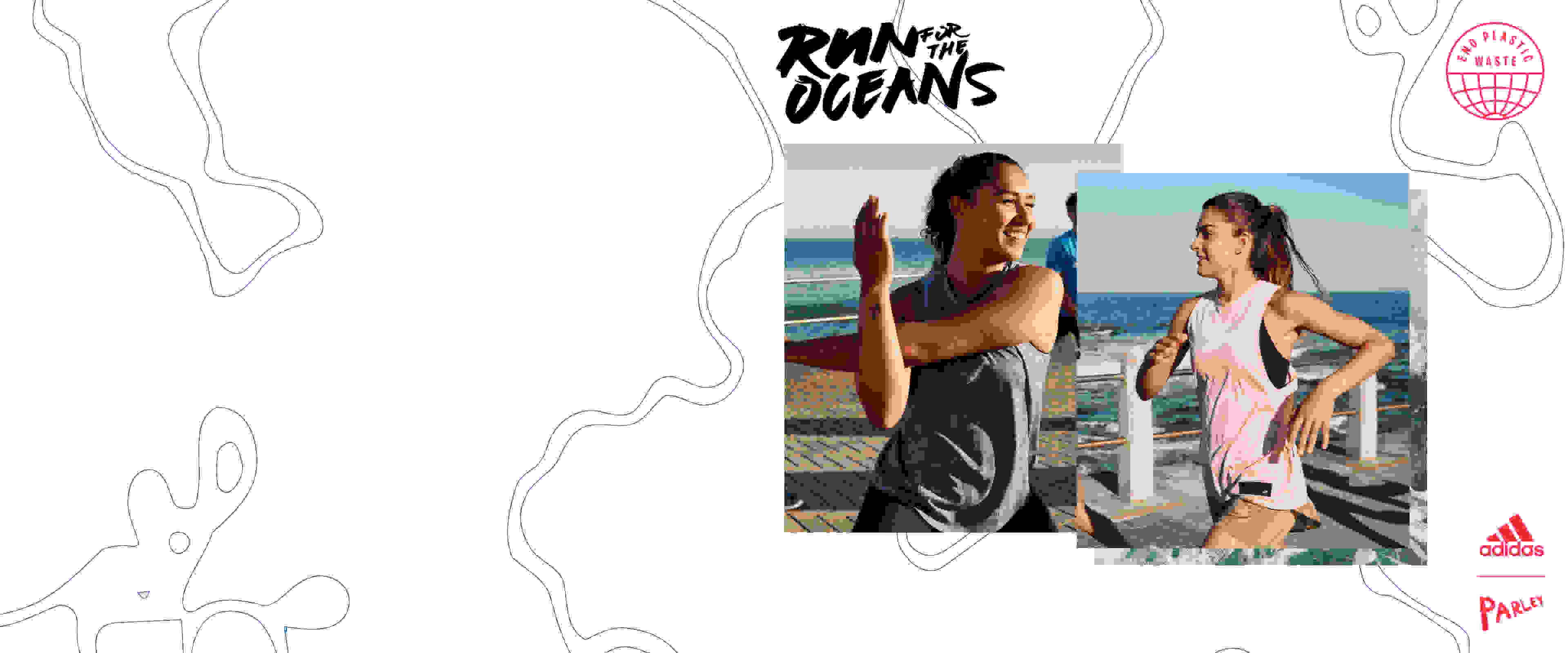 A woman are picking up plastic waste on the beach and another woman is downloading the adidas Running app to join Run For The Oceans