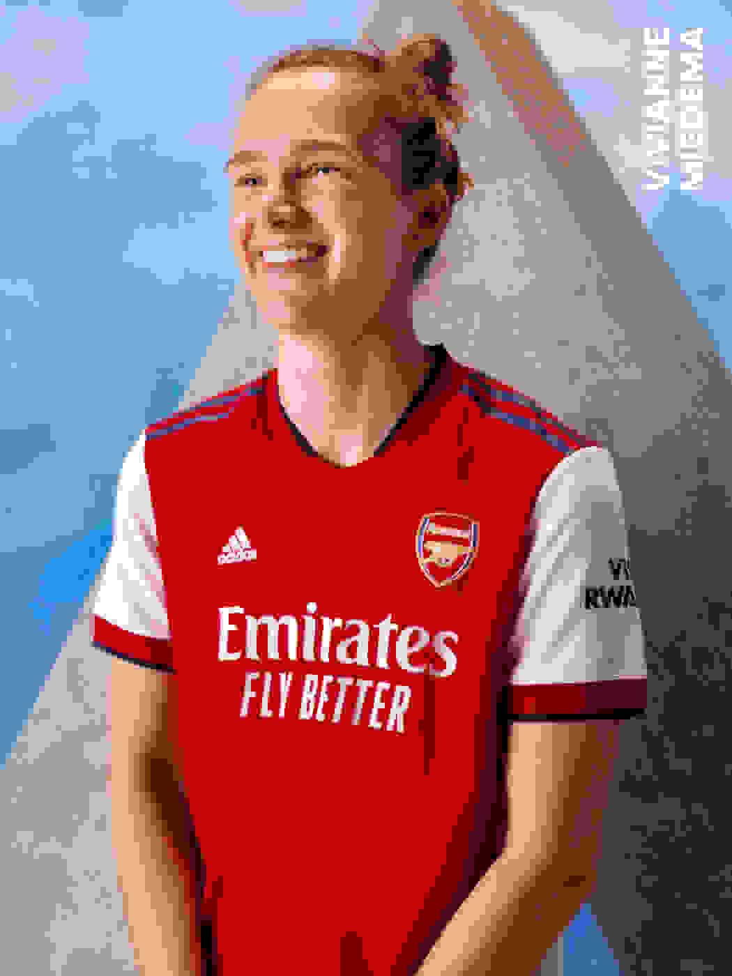 Female player wearing Arsenal Home Jersey