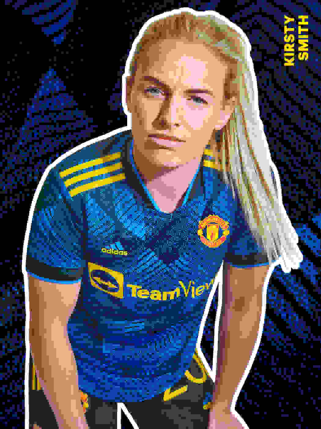 A female player wearing the Manchester United Third Kit