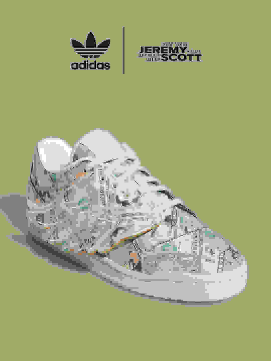 A model holds the Forum Money Low sneaker into the camera, showing off the wing detail and dollar bill-printed upper.