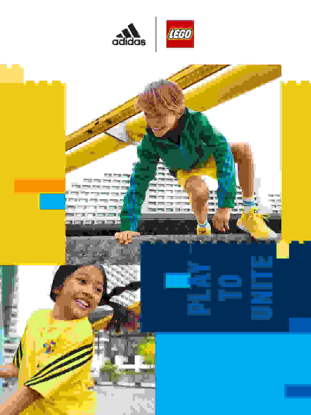 Kids wearing colourful adidas LEGO® outfits.