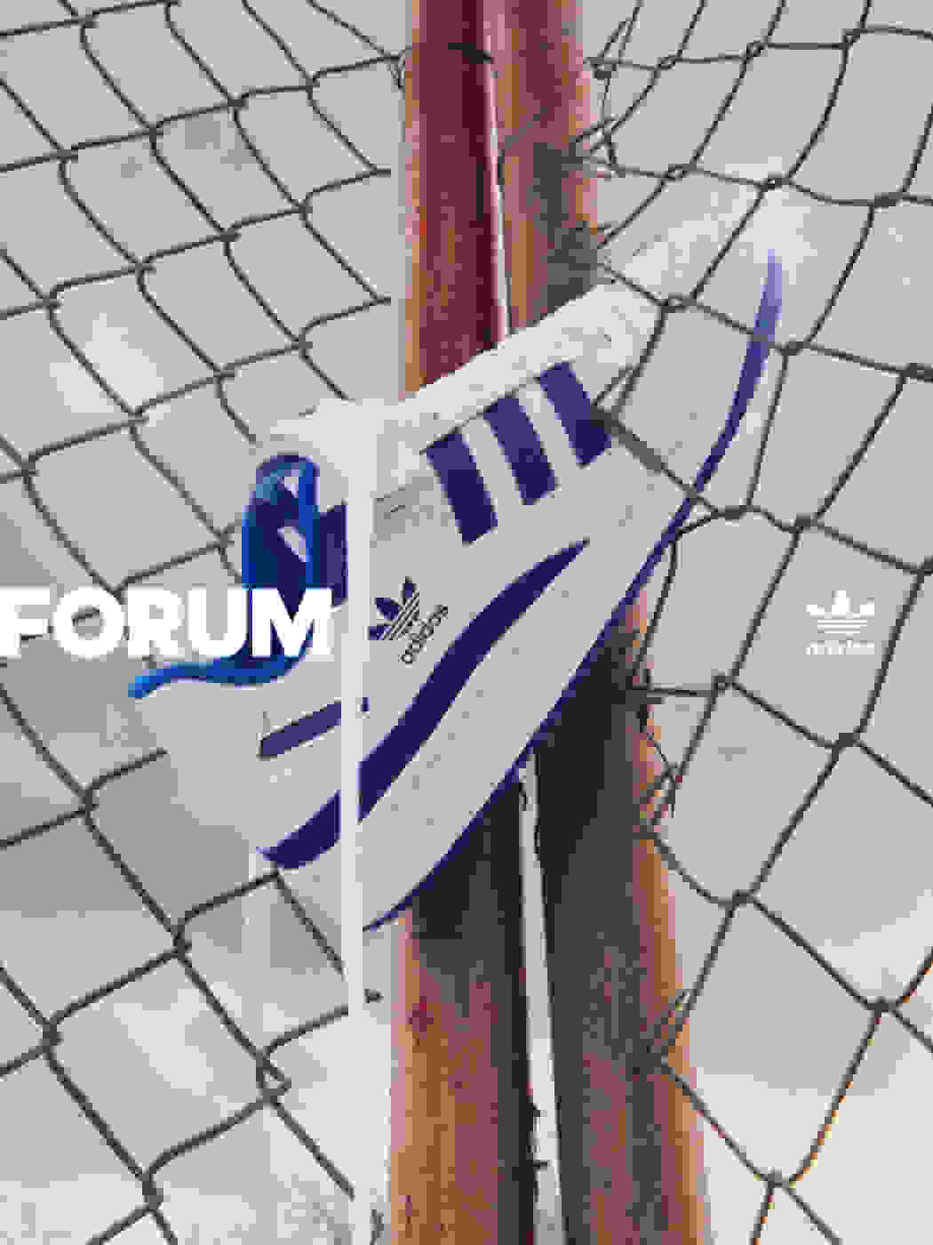 blue and white Forum footwear