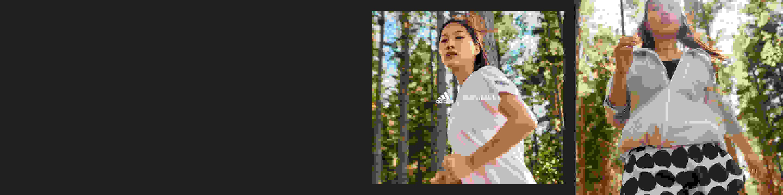 dos imágenes mostrando modelos corriendo en el bosque