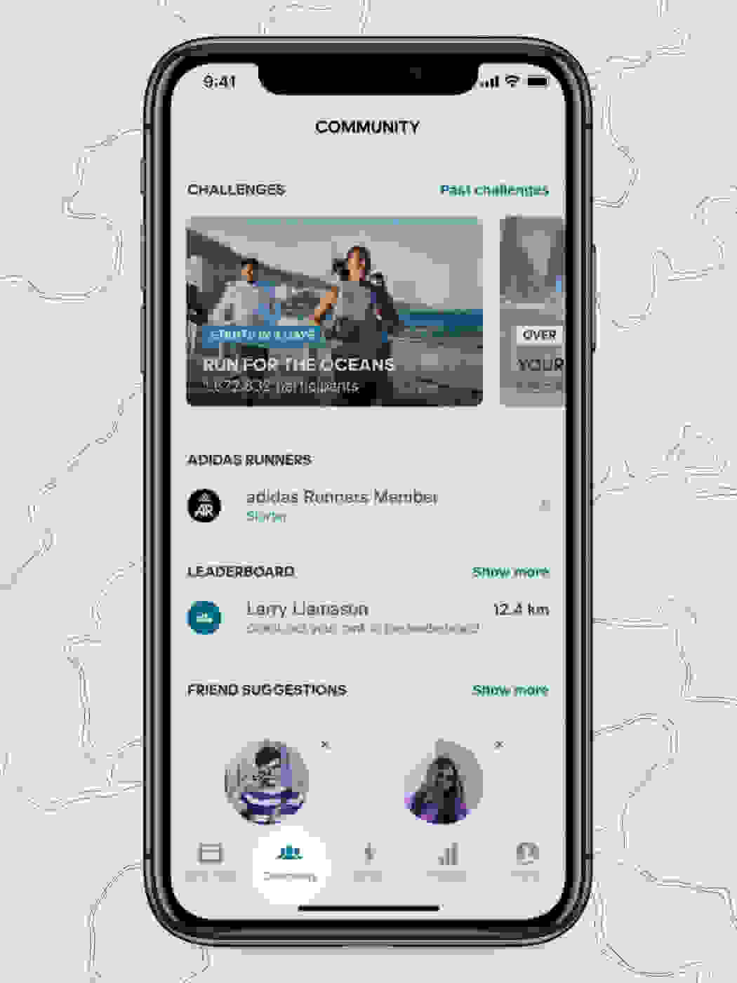Mobile device showing the adidas Running app community tab on screen