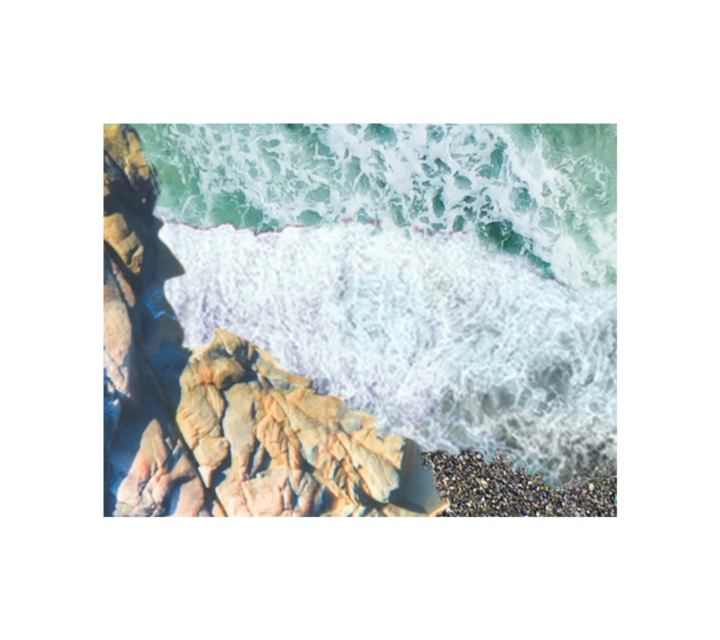 An ocean shore with white waves in motion