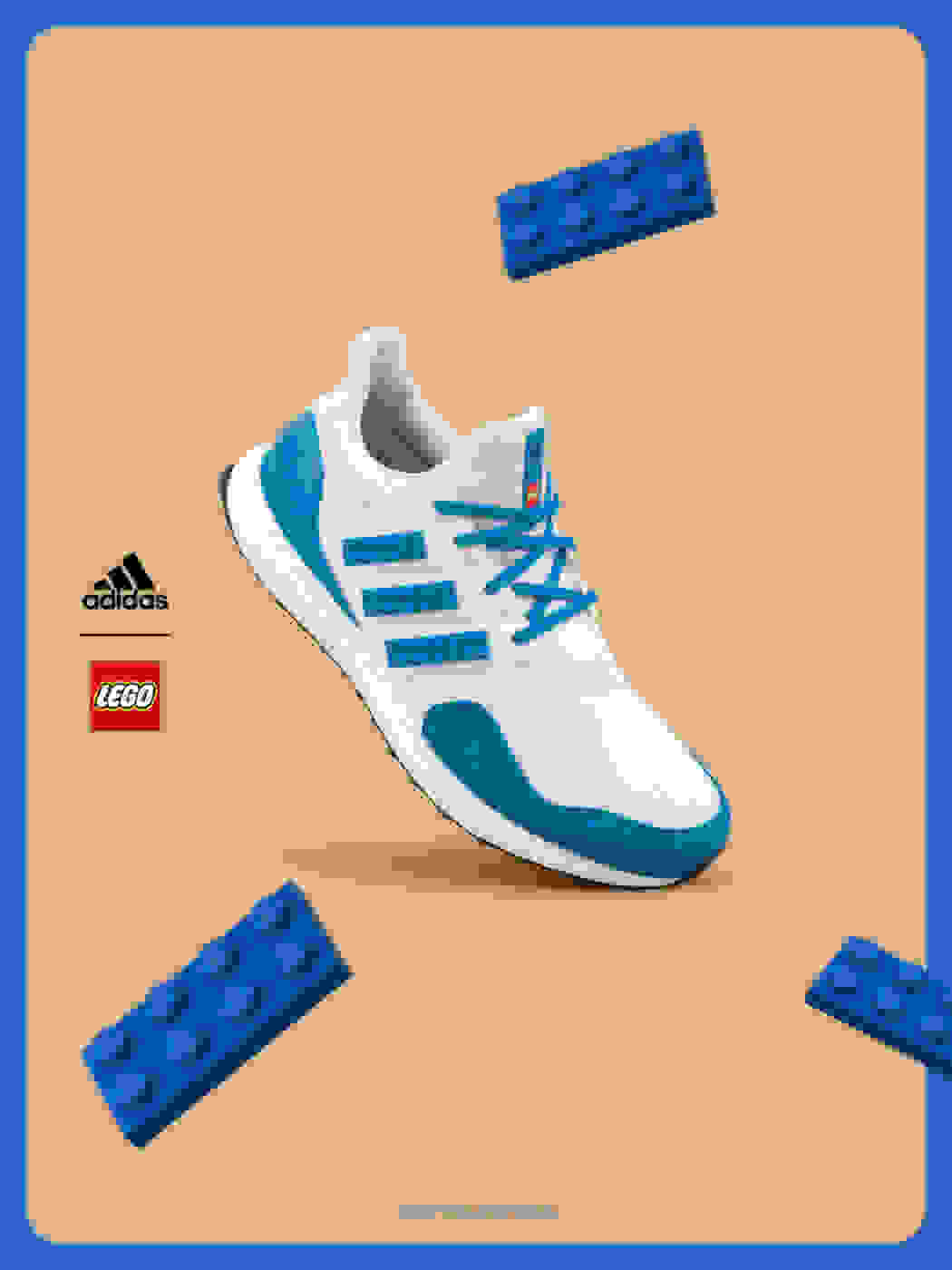 Blue color shoe on brown background
