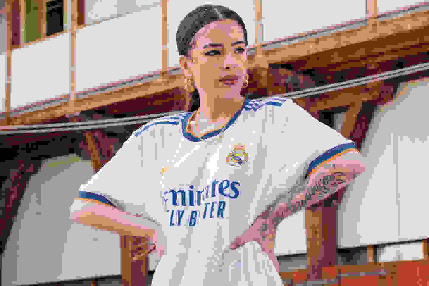 Female player in Real Madrid Home Jersey