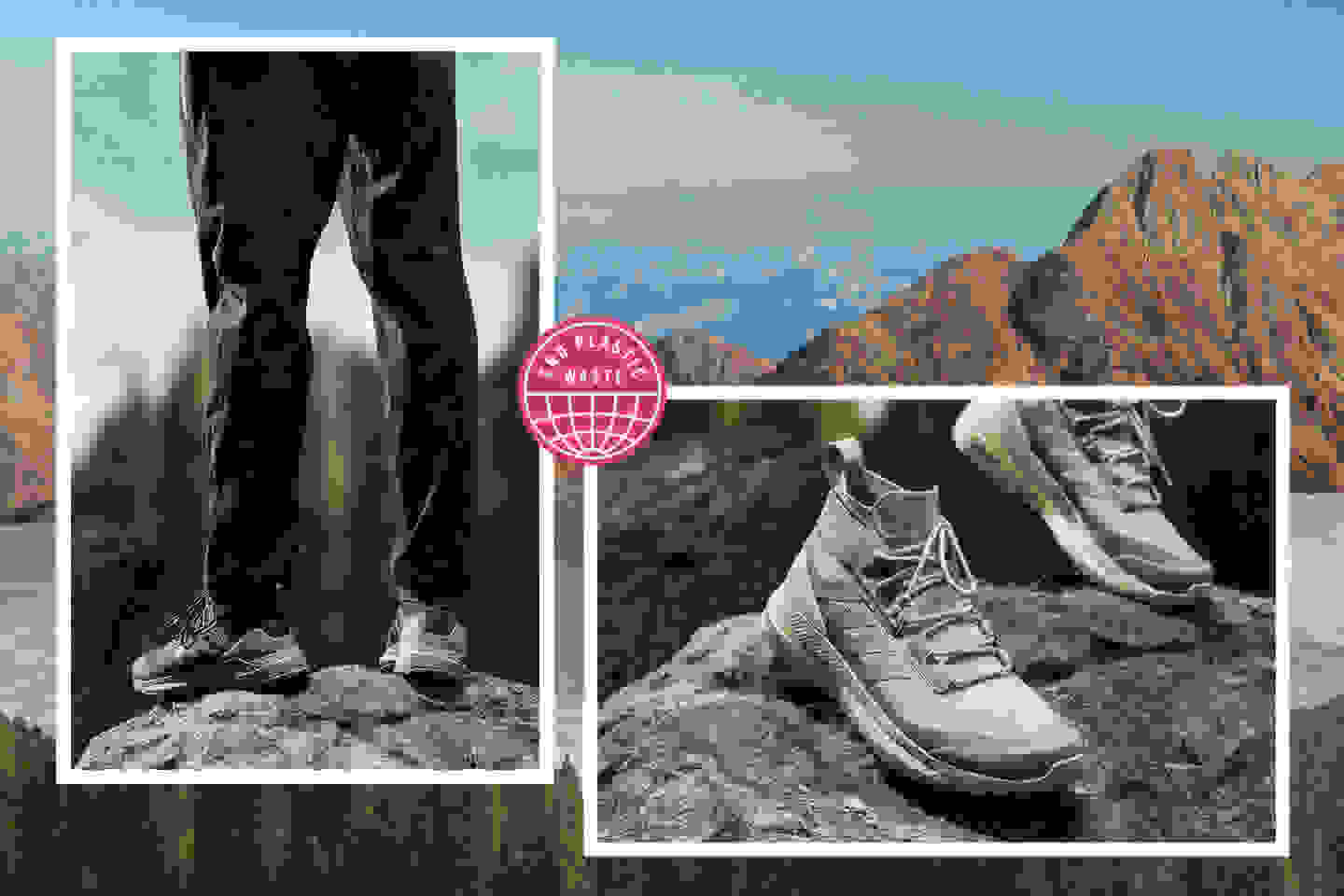 two models wearing the new adidas x Parley outdoor range on a mountainous background