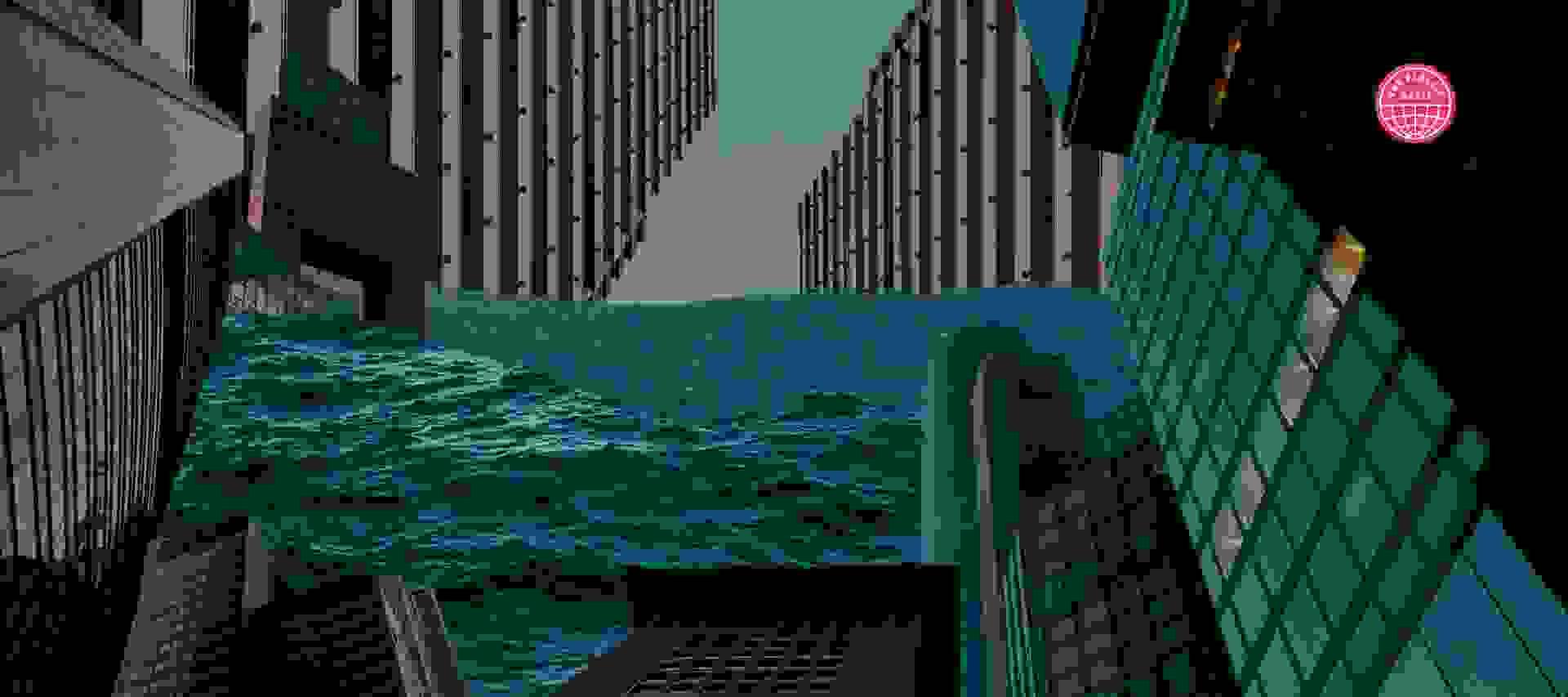 Ocean waves flowing between city buildings