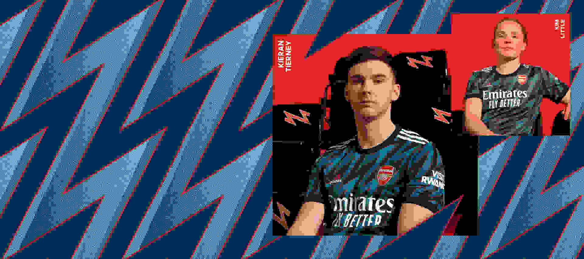 A male player and female player wearing the Arsenal Third Kit