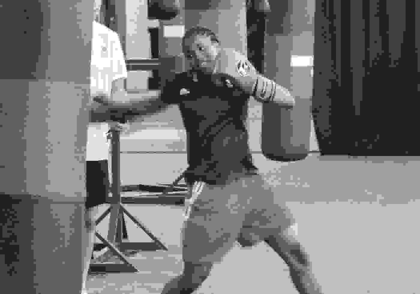 Caroline Dubois training with a punchbag