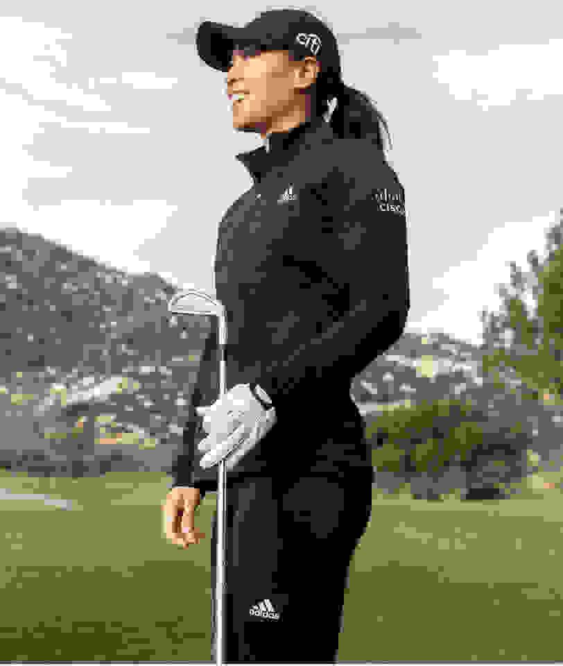 close-up of women's golf apparel