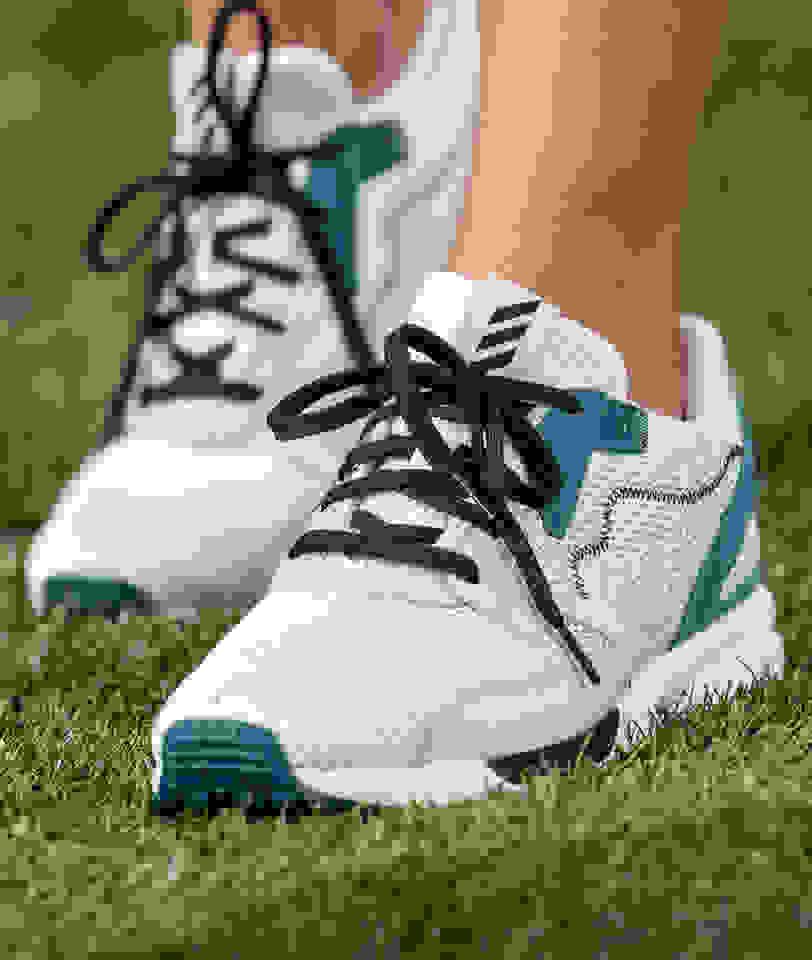 close-up of golf shoe