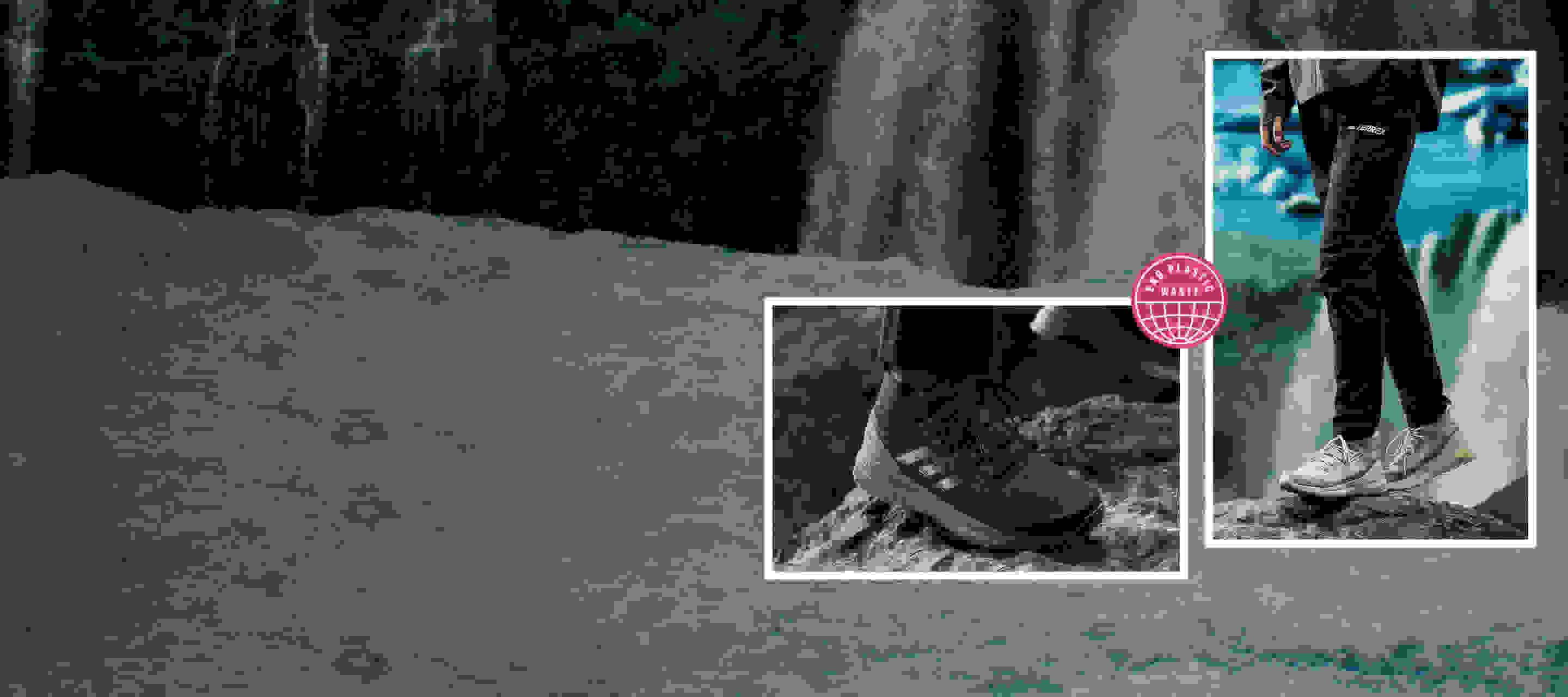 Background image of a waterfall, in the foreground 2 models wearing adidas x Parley apparel