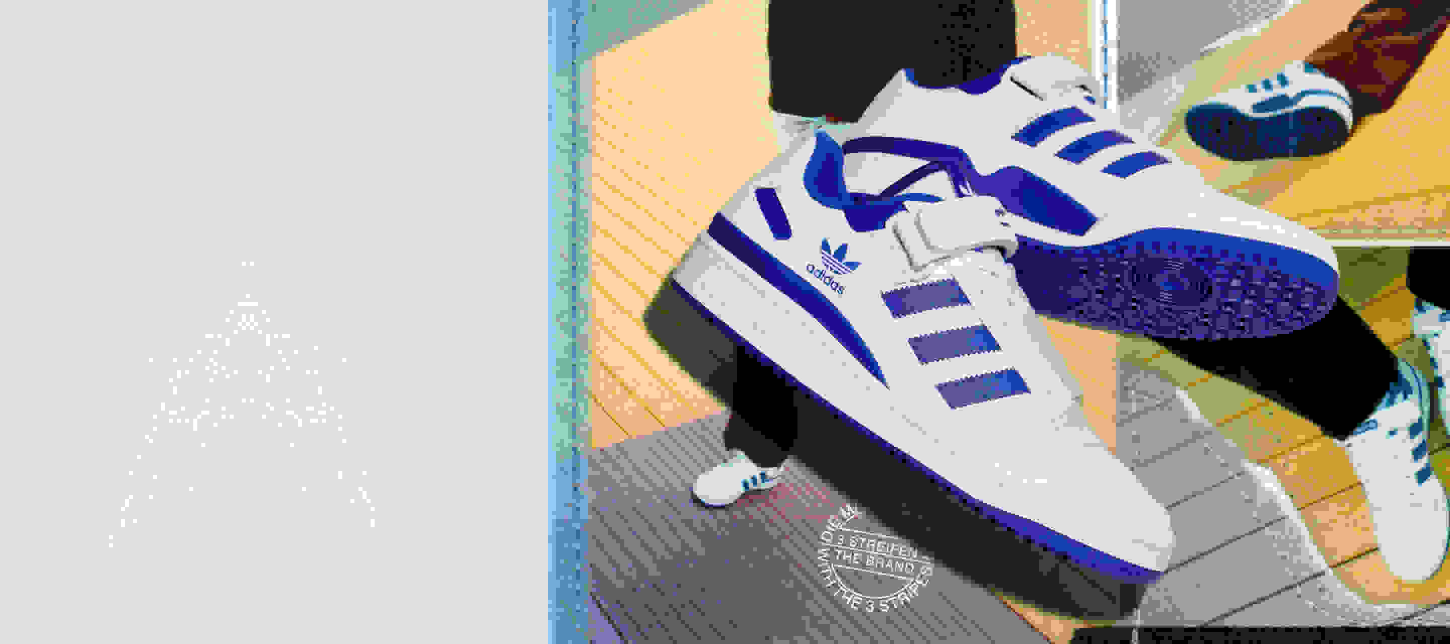 The Forum Low in white and blue shown over collage of model wearing the product.