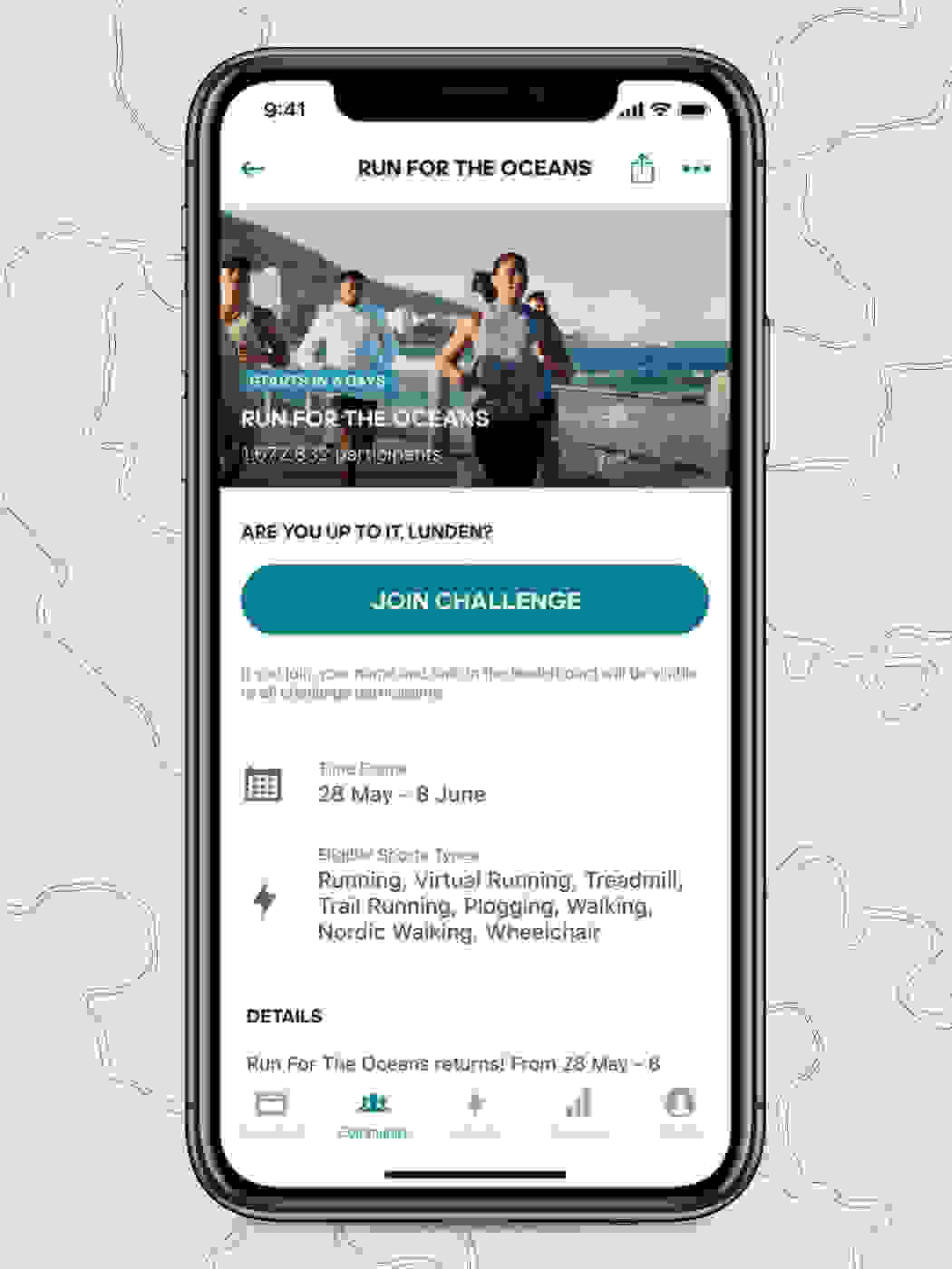 Mobile device showing the adidas Running app with Run For The Ocean challenge on screen