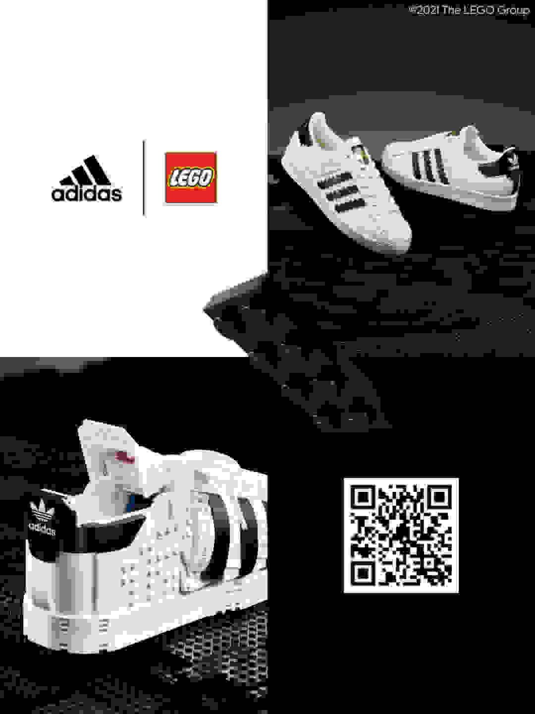 A four-quadrant grid image featuring a pair of adidas Superstar sneakers built out of LEGO® bricks and a black 3D lego brick.
