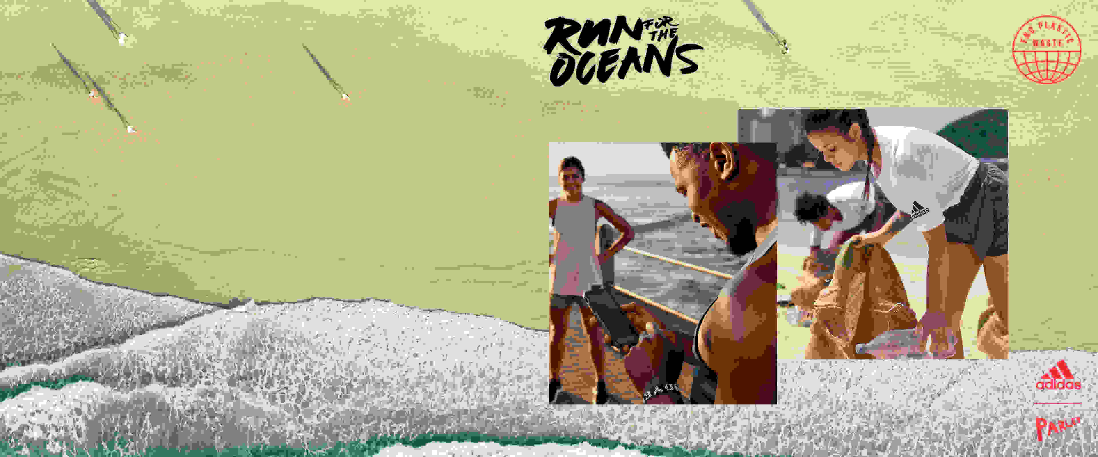 A woman is picking up plastic waste on the beach and a man is downloading the adidas Running app to join Run For The Oceans