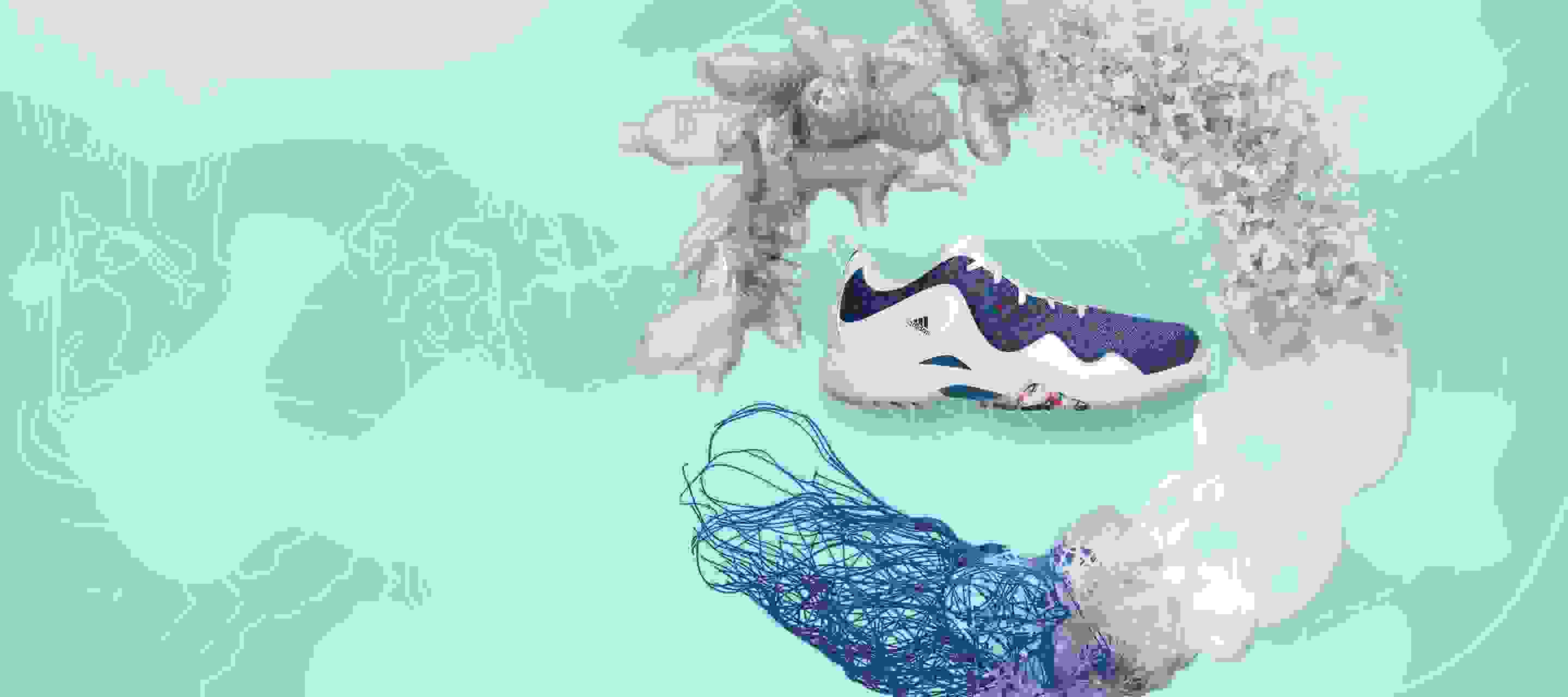PRIMEBLUE golf shoe show against an aqua background surrounded by recycled plastic