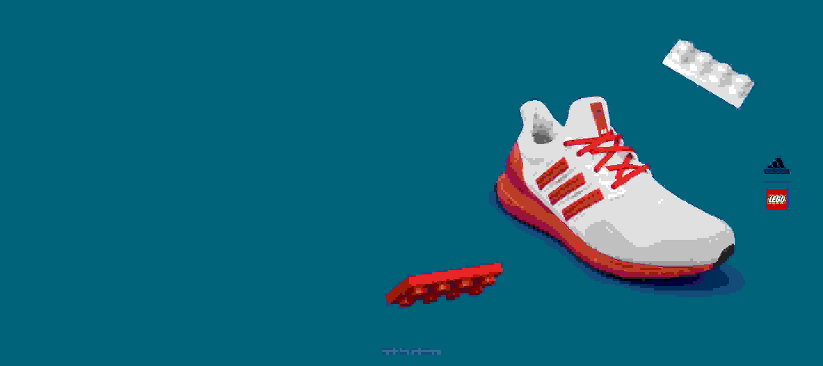 Red color shoe on blue background