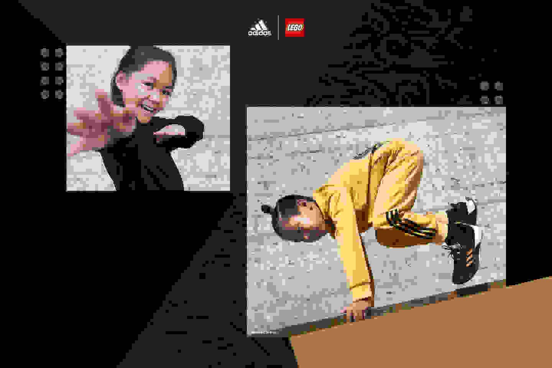 Girl actively posing in black NINJAGO® outfit. Boy jumping in NINJAGO® tracksuit.