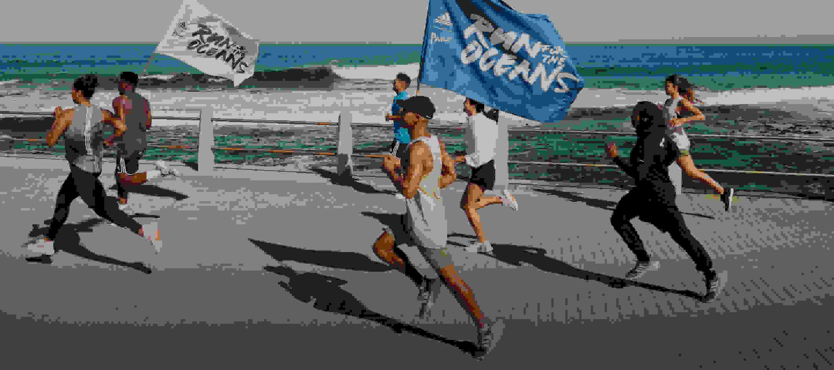 A collage of people running, sea creatures, and Adidas sneakers.