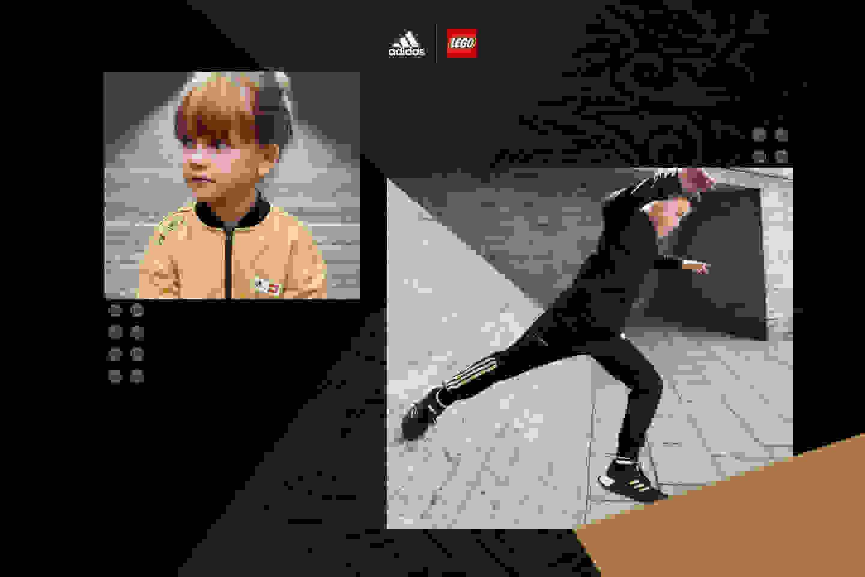 Girl interacting with camera in black NINJAGO® t-shirt. Boy jumping in NINJAGO® tracksuit.