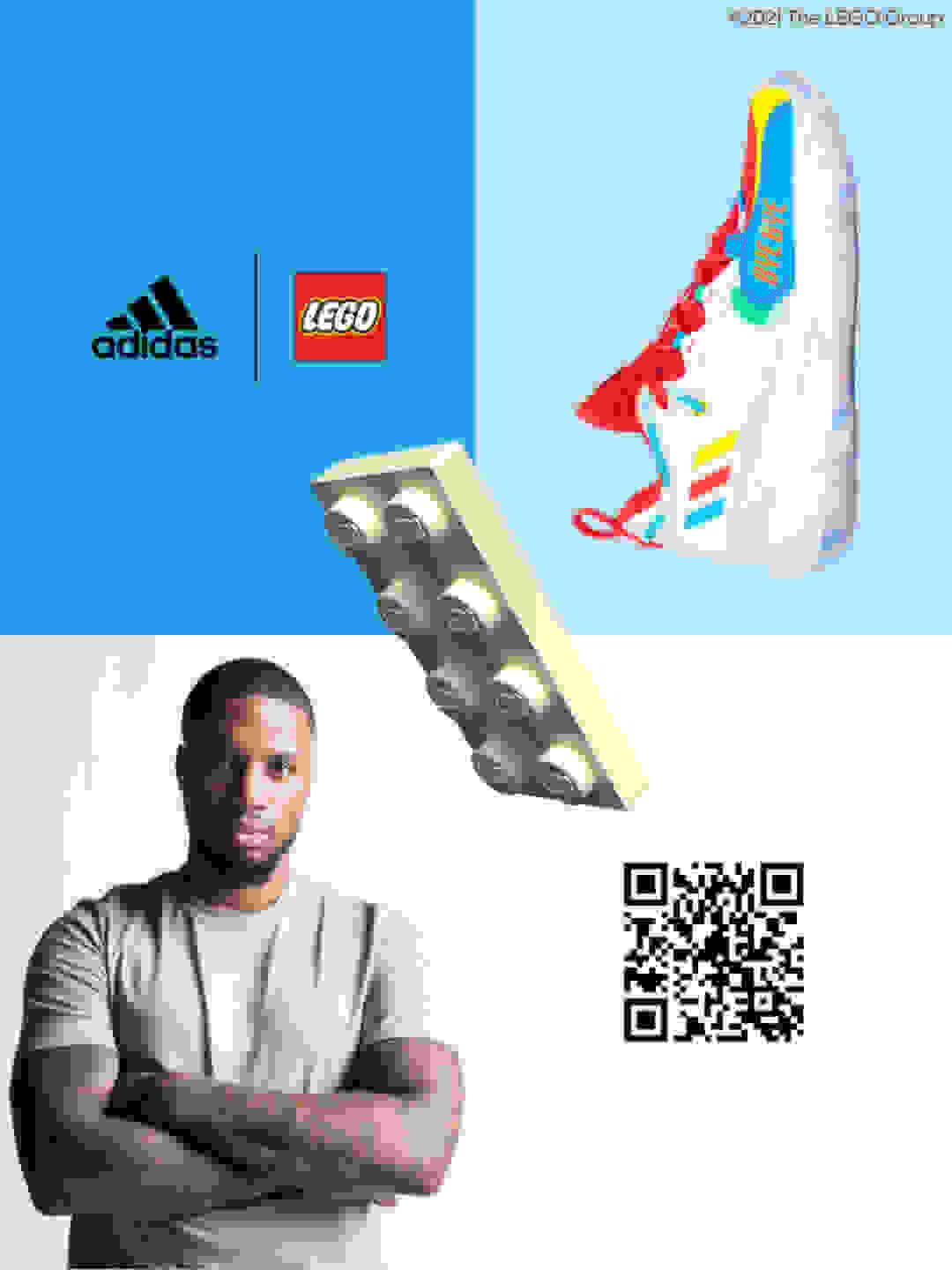 A four-quadrant grid image featuring Damian Lillard and an adidas x LEGO® sneaker from the new basketball collection.
