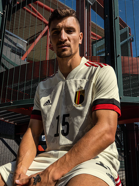 Thomas Meunier wearing the new Belgium Away jersey.