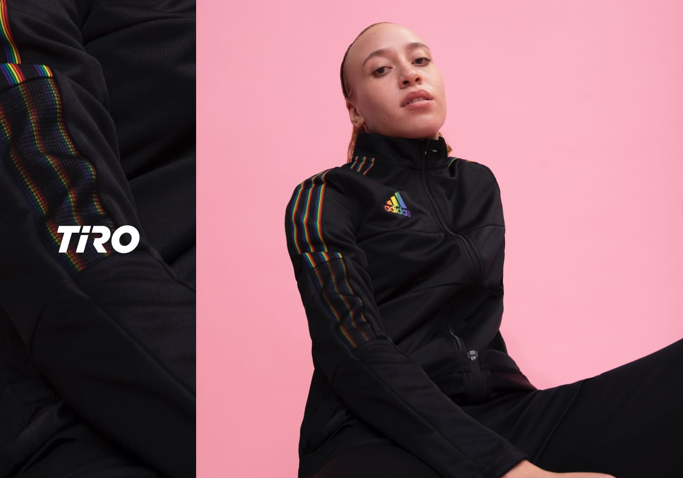 Woman wearing the key outfit from the TIRO 21 Pride Pack from adidas. Spring/Summer 21.
