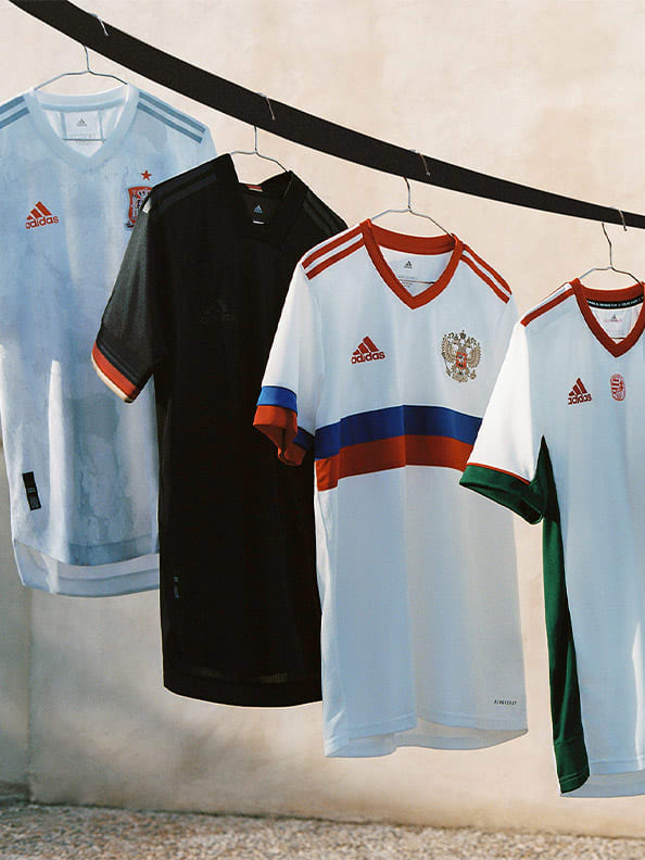 The new Away collection is shown here. With specially designed jerseys for Germany, Sweden, Spain, Hungary, Belgium and Russia.
