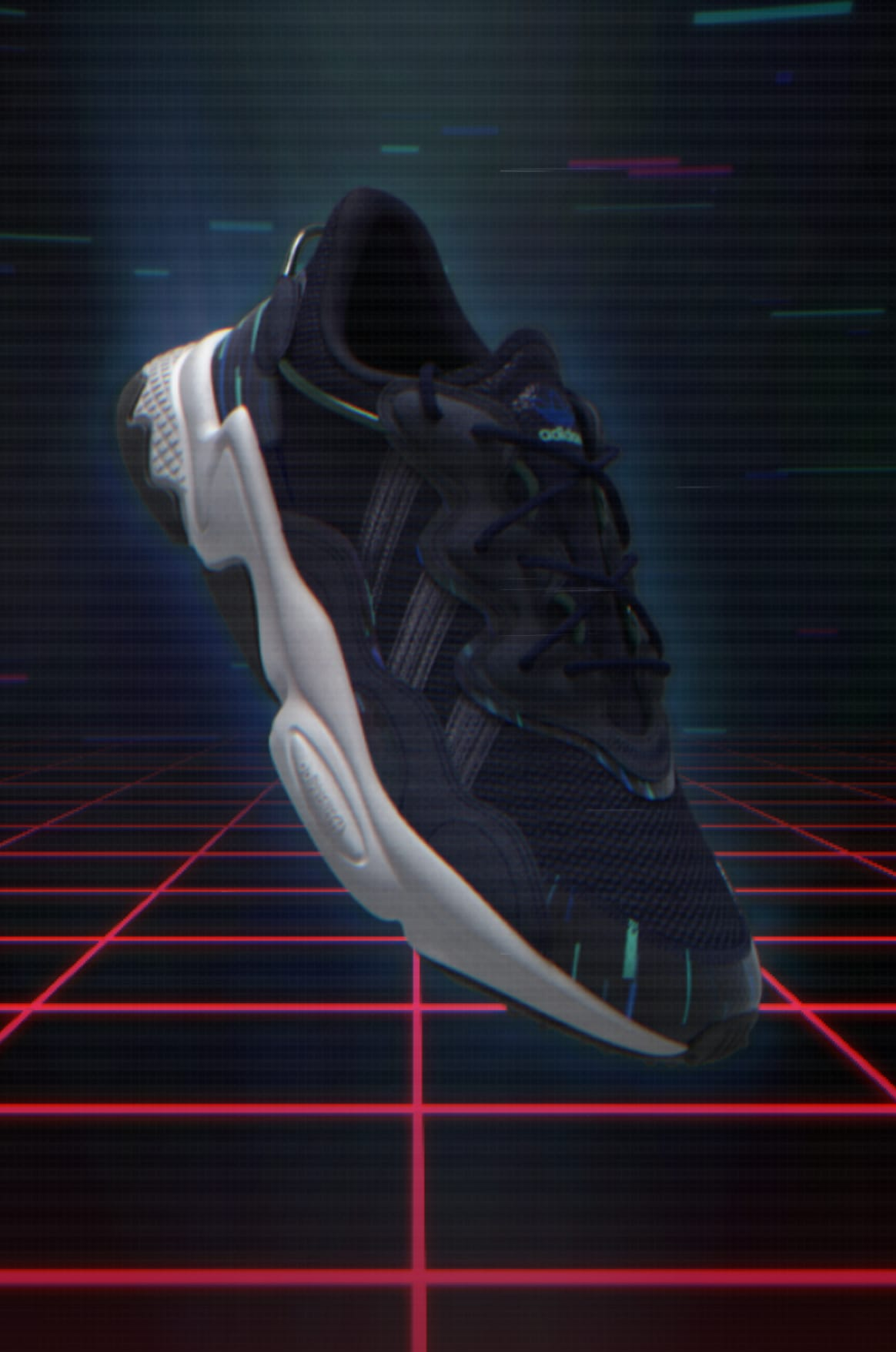 adidas Ozweego in video-game setting.