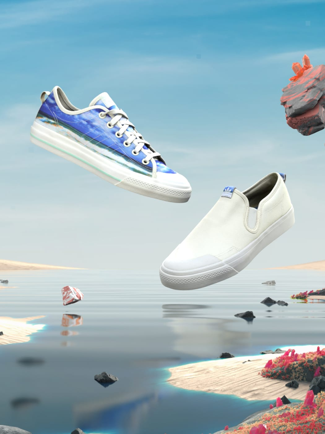 Image of four summer footwear styles in paradise.
