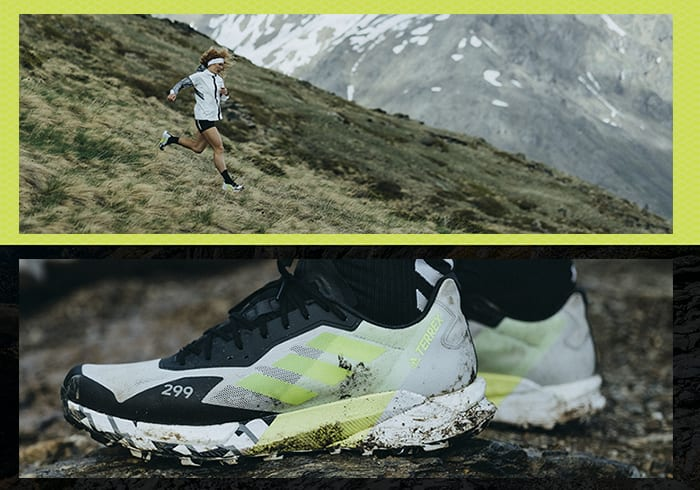 Athlete Ekaterina wearing the Agravic Ultra running down rocky mountain trails