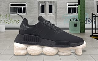 Originals shoe in front of subway scene and chaacter