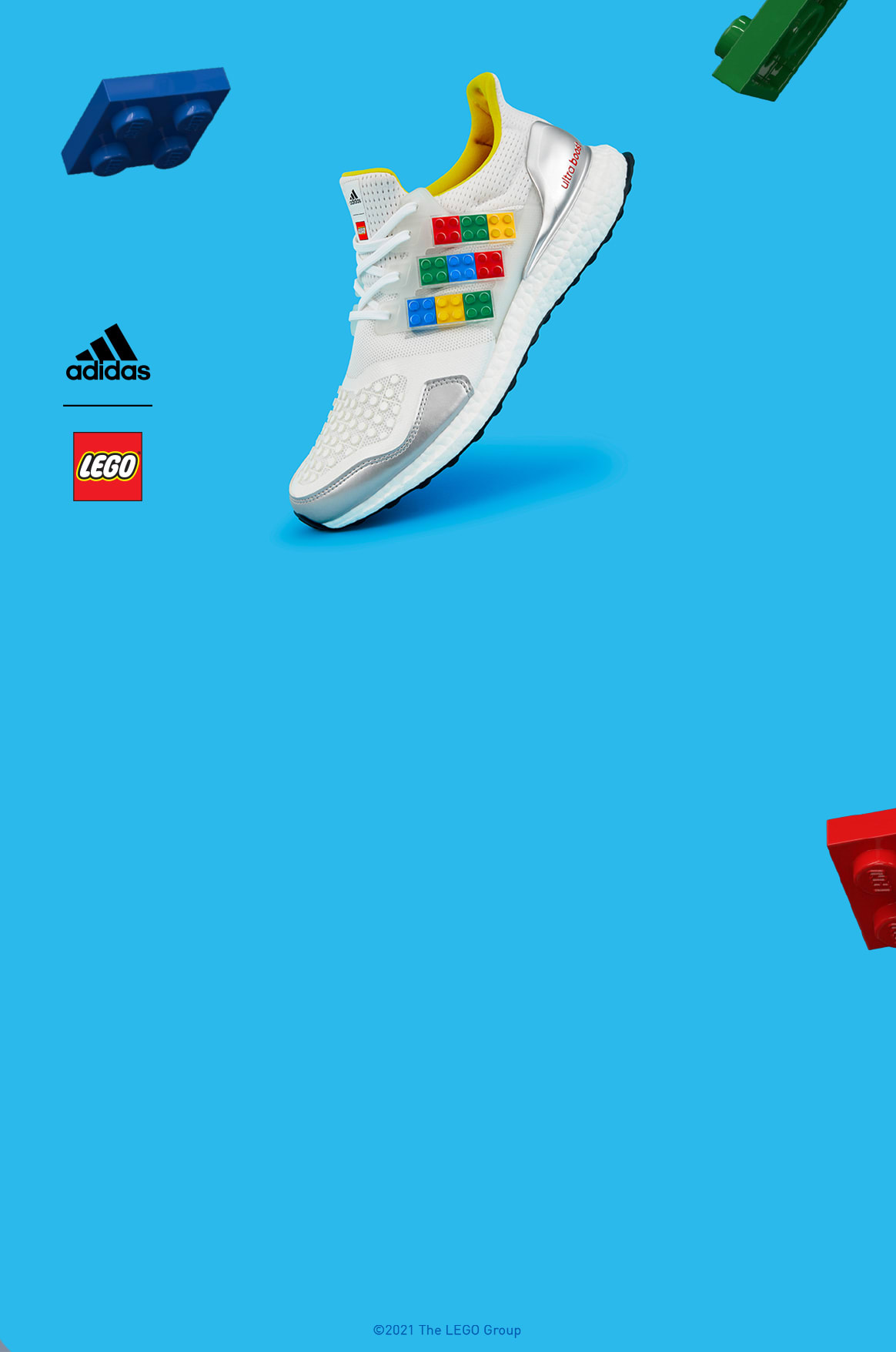 ultraboost dna plates trainers on a grey background with floating lego bricks